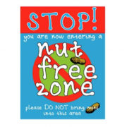 Sign that says 'Stop you are entering a nut free zone'